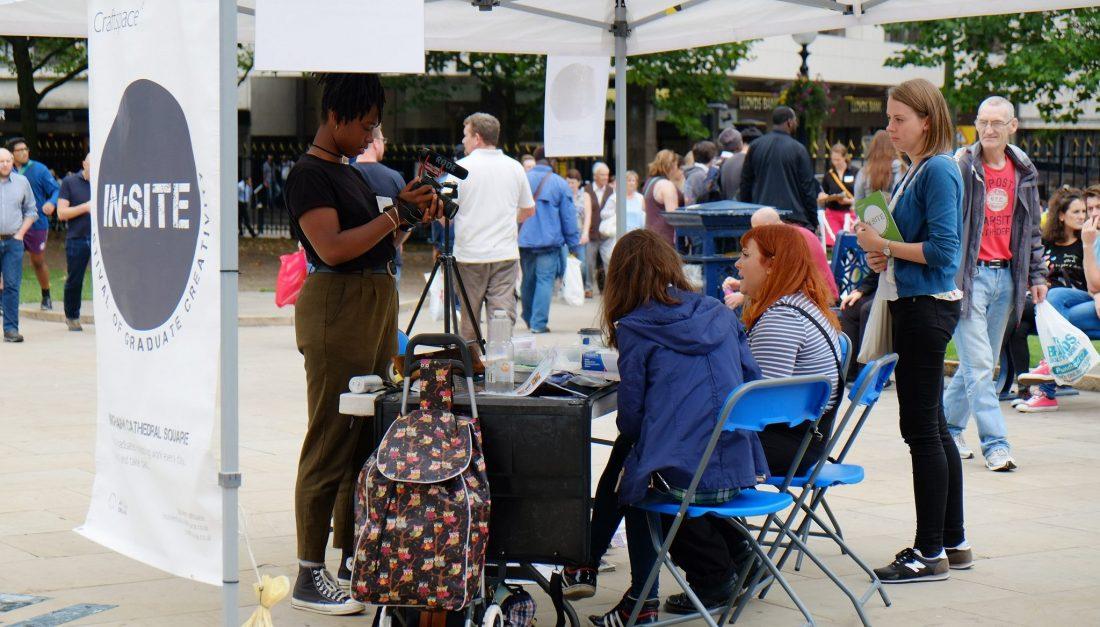 Film Maker, Myah Jeffers, interviewing an artist at In:Site 2016