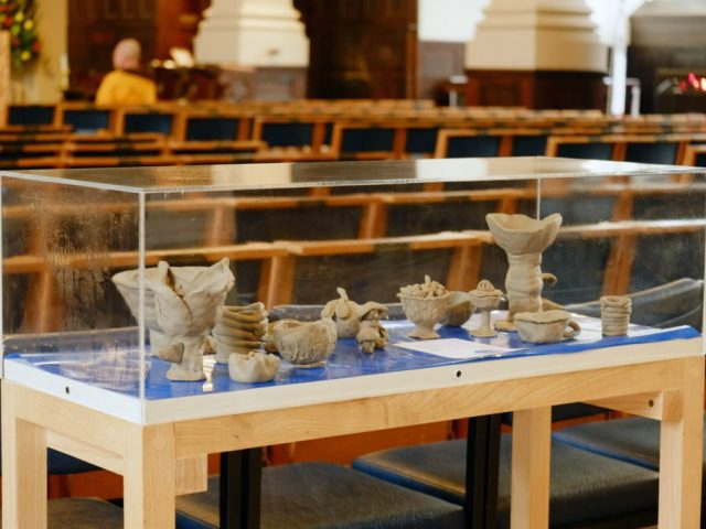 The finished clay sculptures were displayed in the Cathedral.