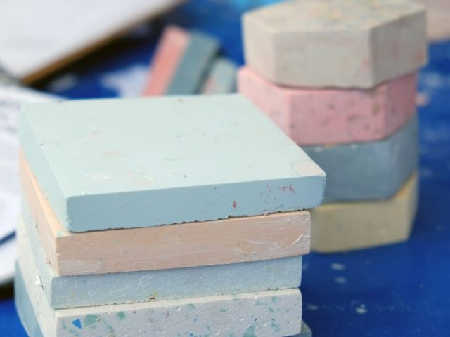 The finish stacked colorful Terrazzo shapes.