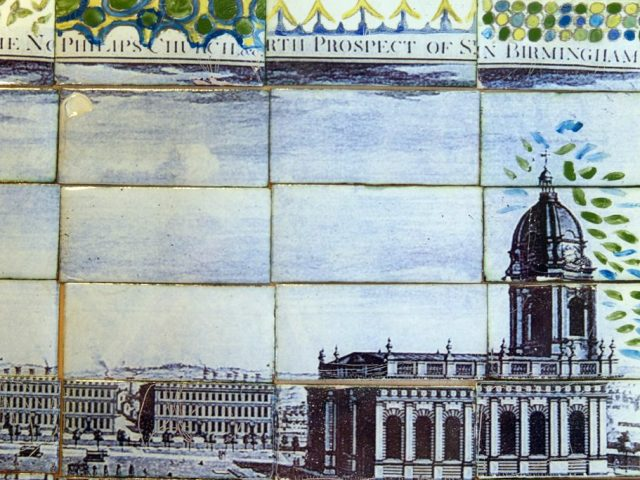 The Cathedral Square painted on enamel tiles.