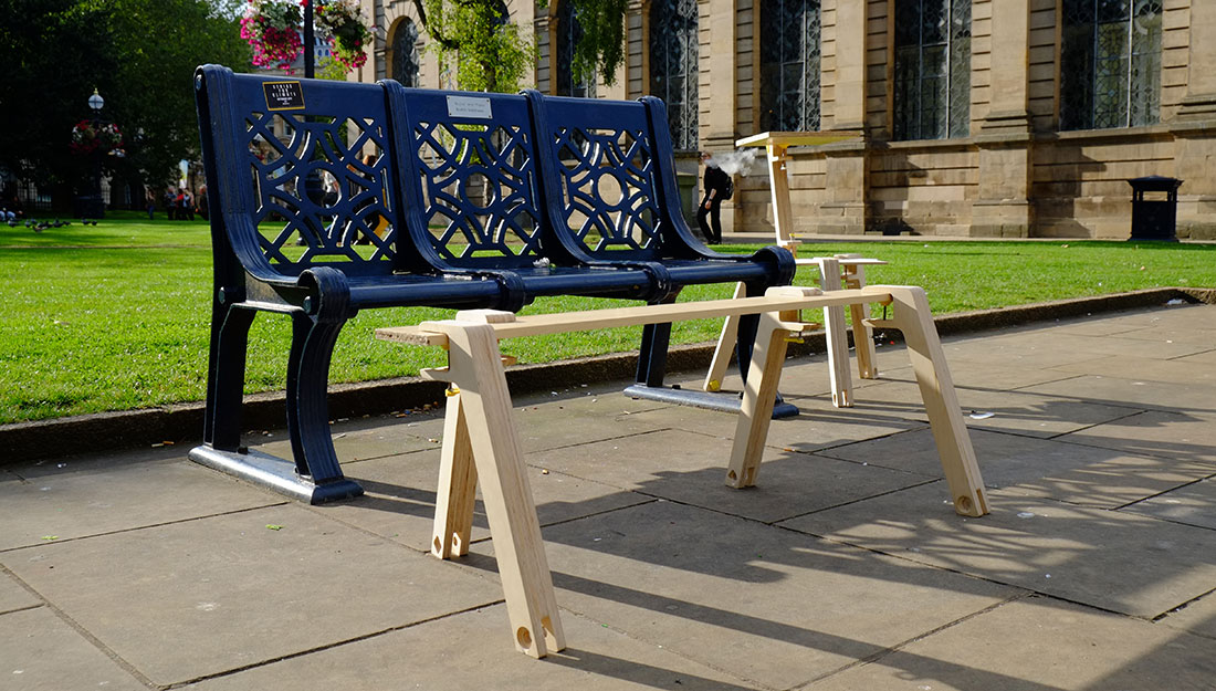 upcycled furniture sculpures by bench