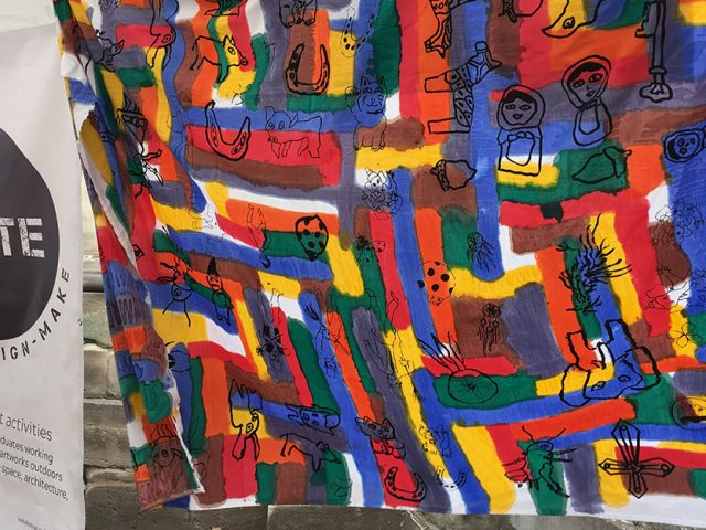 In:Site banner 'Craft - Design - Make' next to colourful sheet of fabric with illustrations