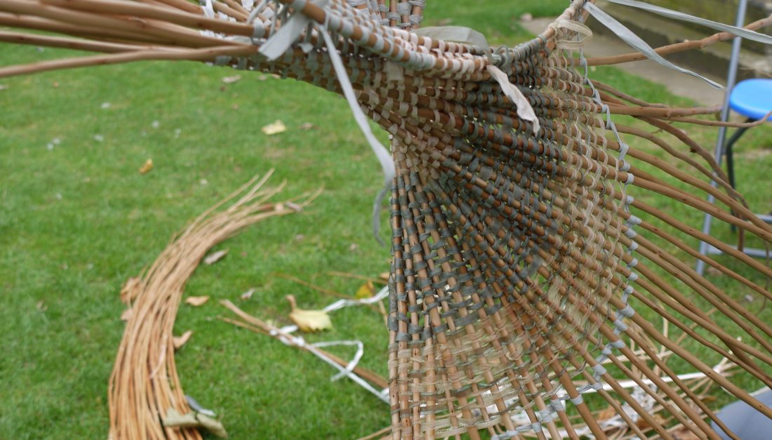 with the willow weaving techniques the artists created a three dimensional sculptural.