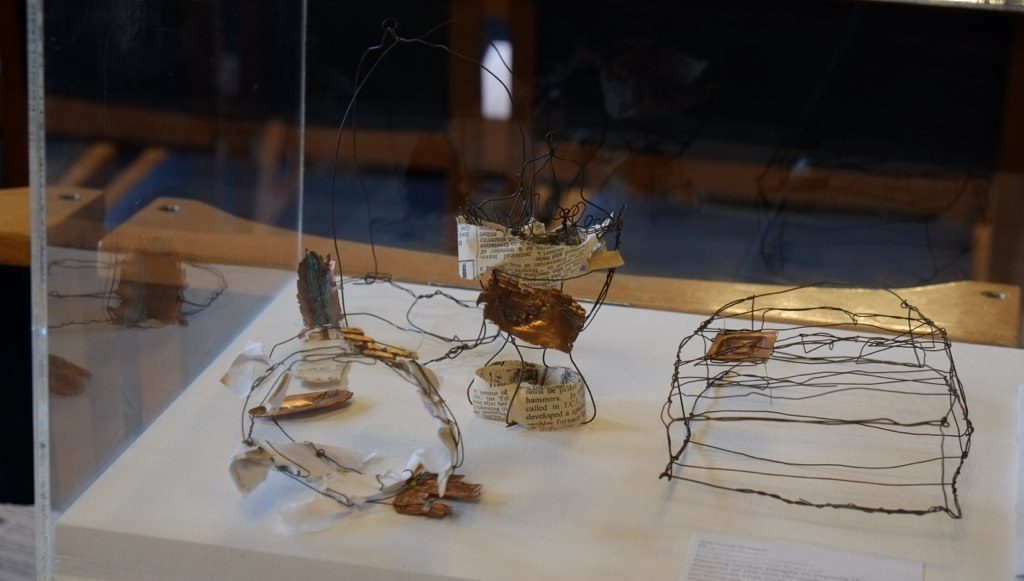 The finished wire sculptural aspects of the site