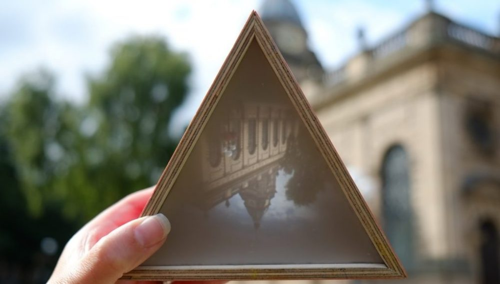 The triangle shows the cathedral upside down.