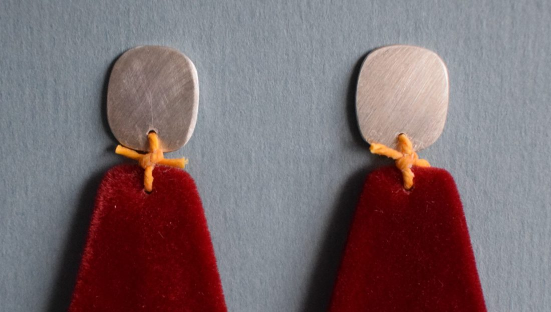earrings made from felted material, wool and silver discs