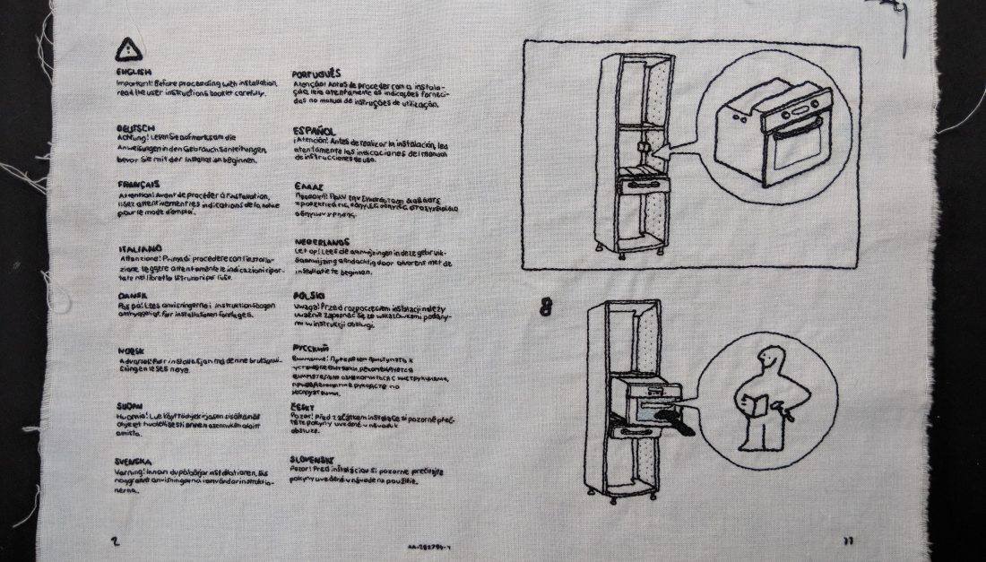 Hand-embroidered operating instructions from IKEA