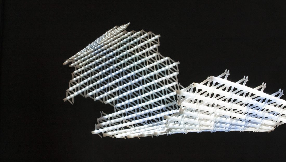 white plastic with a triangle structure