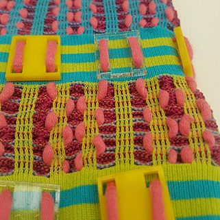 colorful decorative elements were stitched on the fabric