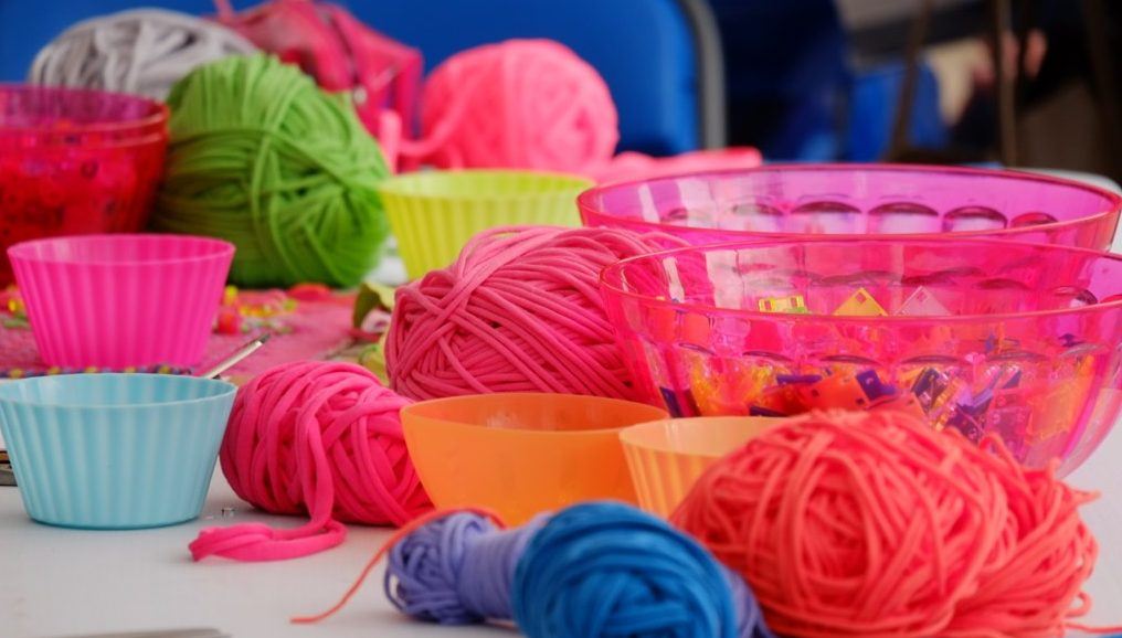 brightly colorful wool and decorative elements