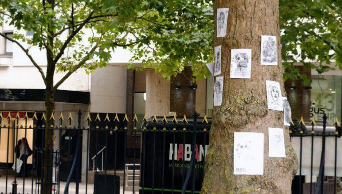 monoprint portraits displayed on a tree