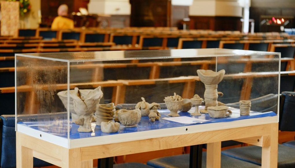 The finished clay sculptures displayed in the Cathedral.