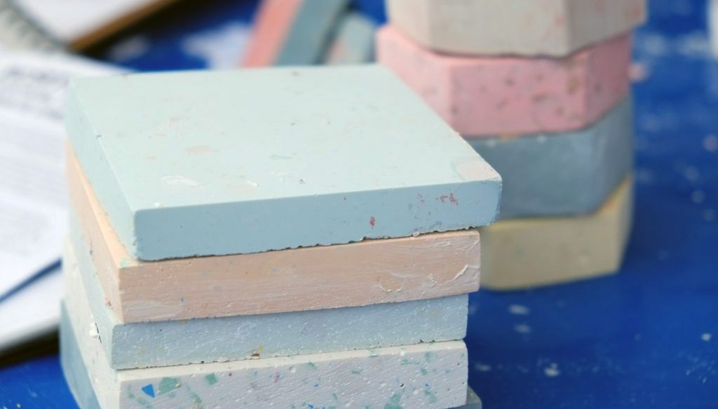 The finish stacked colourful Terrazzo shapes.