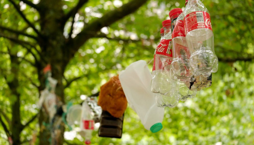 plastic waste hung up on a line.