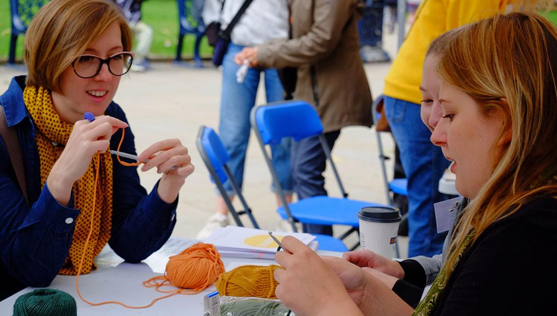 people crocheting