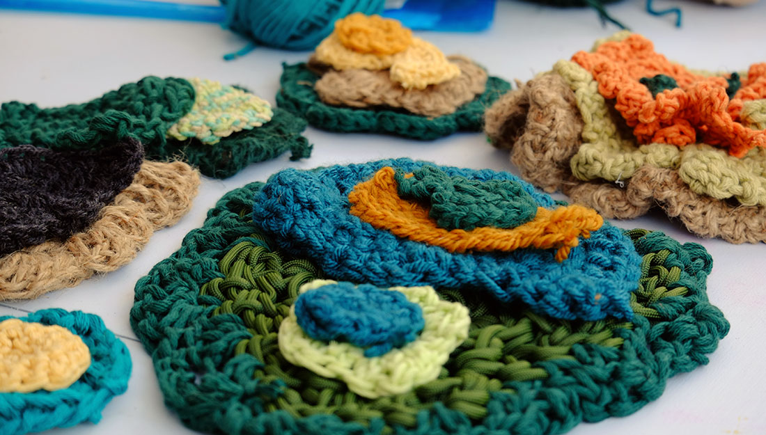 layers of crocheted pieces